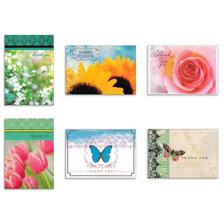 Assorted Thank You Appreciation Cards Bulk Blank Note Cards Set 48 Pack Assortment & 6 Designs, Baby Shower, Wedding, Bridal Shower, Condolence, Butterfly, Flower](Bridal Shower Thank You Cards)