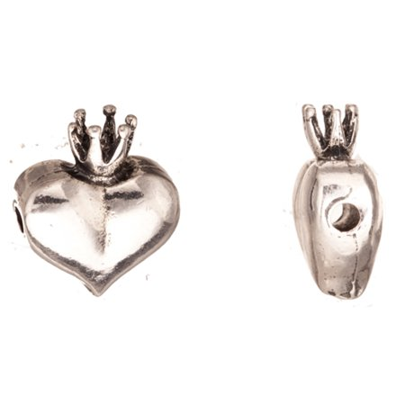 Beaded Crown (Cord Slider Beads, Antique-Silver Plated Heart With Crown Crystal Setting 21x18mm Fits 2.5mm Swarovski)