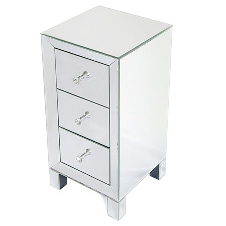 EBTOOLS Table,Modern and Contemporary Mirrored 3-Drawers Nightstand Bedside Table Furniture, Bedside Cabinet