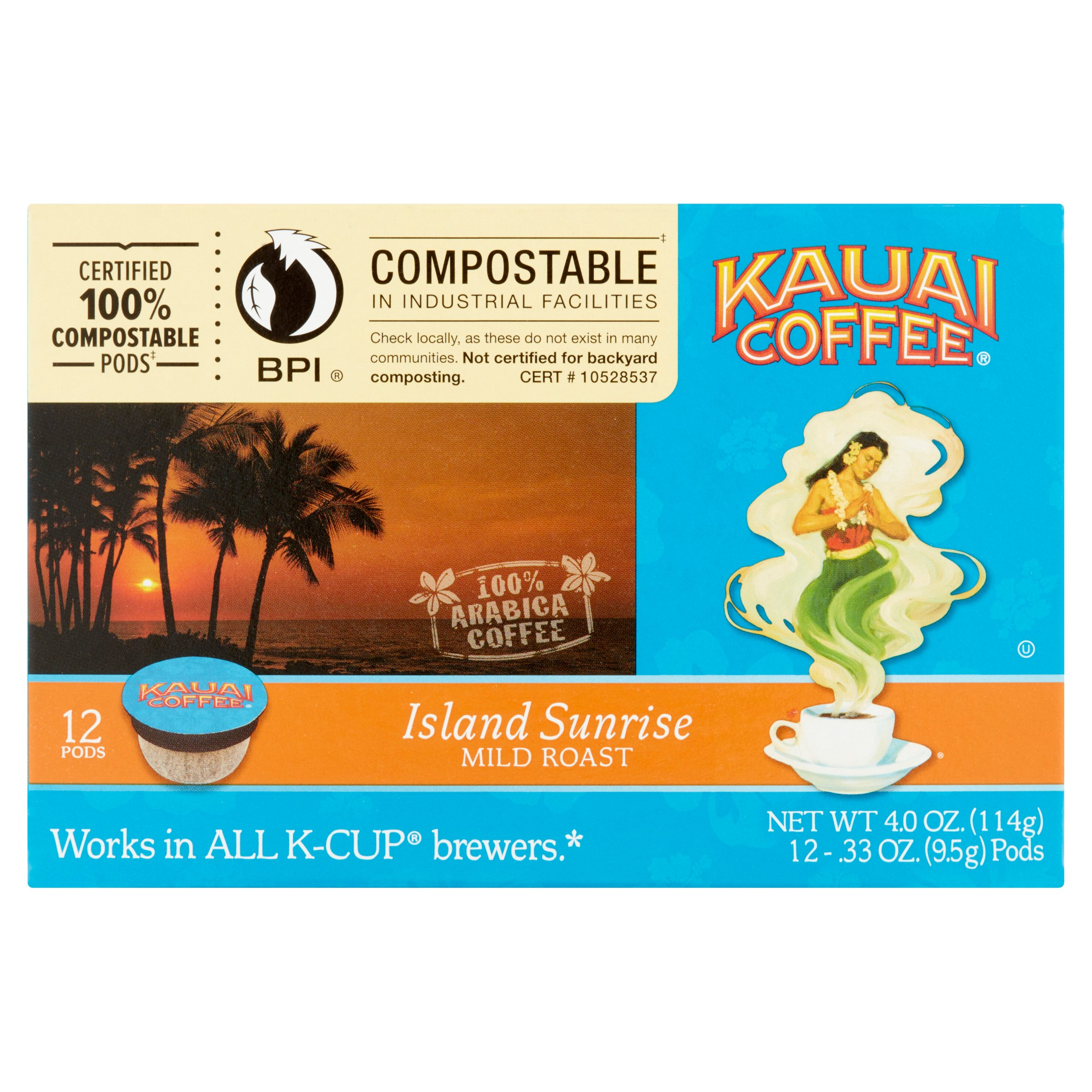 Kauai Coffee® Island Sunrise Mild Roast Single Serve Coffee Pods 12 ct Box