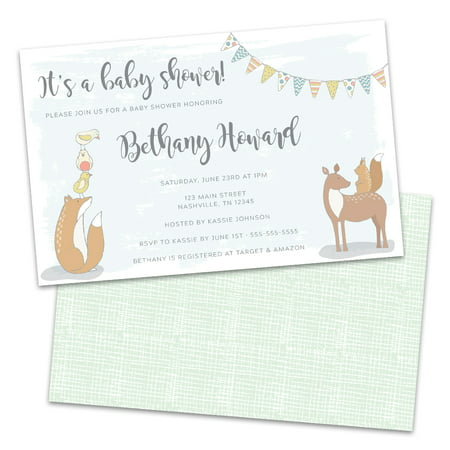 Personalized Friendly Forest Animals Baby Shower Invitations