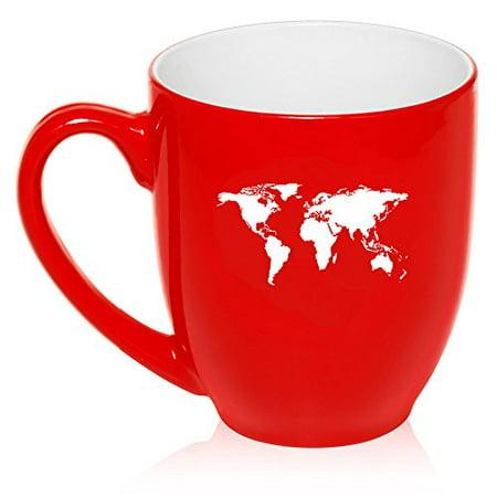 16 Oz Large Bistro Mug Ceramic Coffee Tea Glass Cup World Map Red