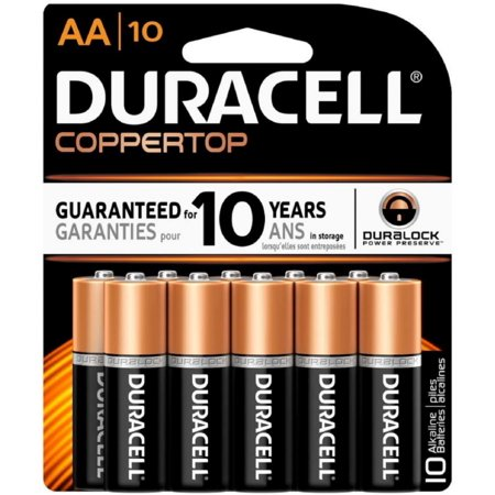 duracell coppertop alkaline batteries 1 5 volt aa 10 each. Black Bedroom Furniture Sets. Home Design Ideas