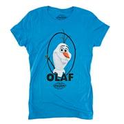 Disney Frozen Olaf Oval Frame Juniors Blue T-Shirt   L