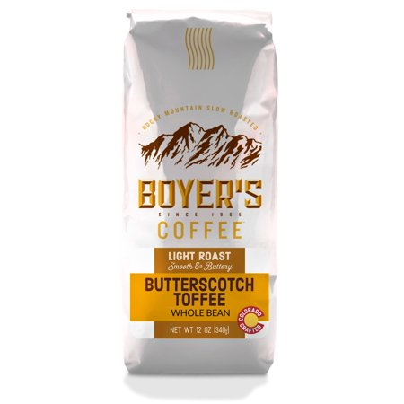- Boyer's Coffee Butterscotch Toffee Flavored Coffee, Whole Bean, 12oz