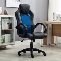 Belleze Racing High Back Office Chair PU Leather Computer Desk Gaming Swivel Wheel Seat, Black/Blue
