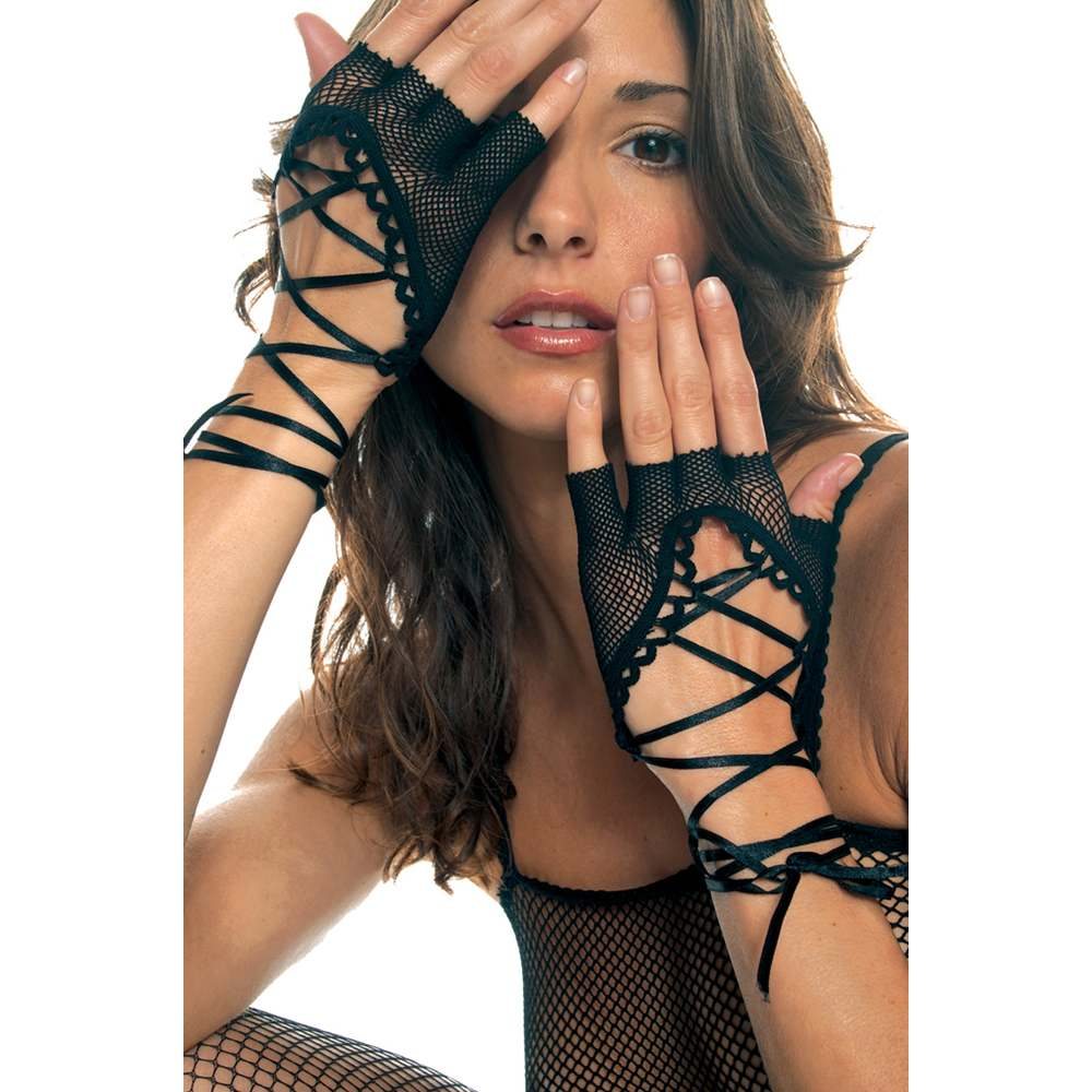 Lace-Up Fingerless Fishnet Gloves