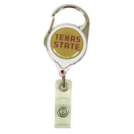 Texas State Bobcats Official NCAA 1.5 inch x 2.5 inch Retractable Badge Holder Key Chain Keychain by Wincraft