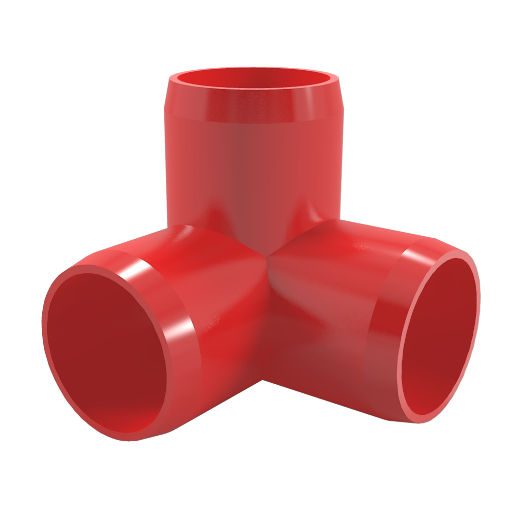 "FORMUFIT F0123WE-RD-10 3-Way Elbow PVC Fitting, Furniture Grade, 1/2"" Size, Red , 10-Pack"