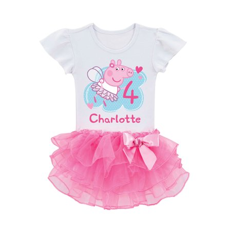 Personalized Peppa Pig Toddler Girls Birthday Tutu T Shirt 2T 3T 4T 5 6T