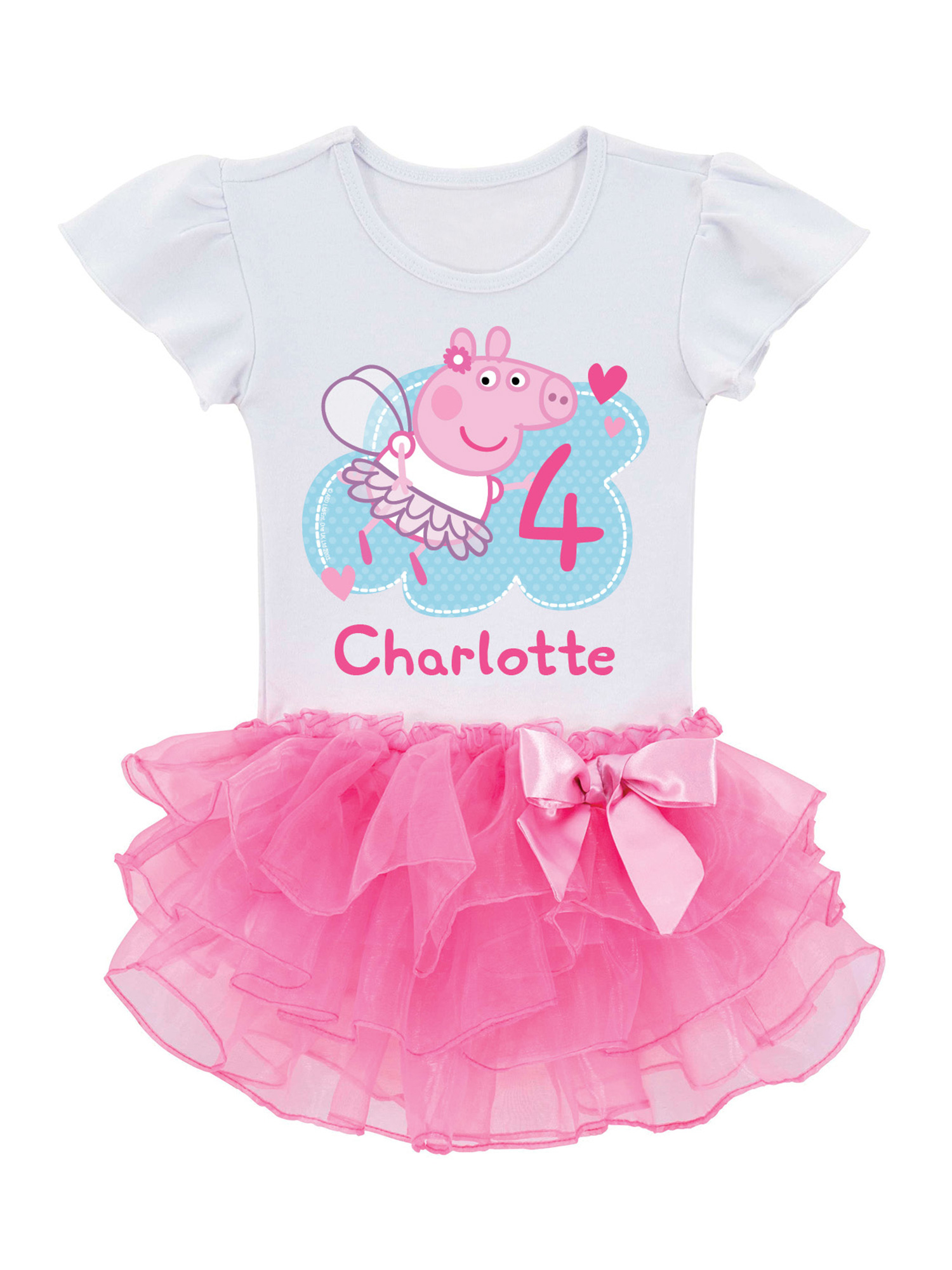 Personalized Peppa Pig Toddler Girls' Birthday Tutu T-Shirt -2T, 3T, 4T, 5/6T
