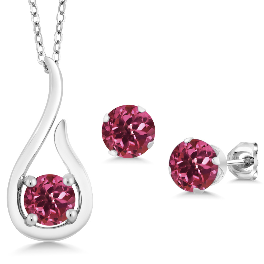 1.50 Ct Pink Tourmaline AA 925 Sterling Silver Pendant Earrings Set With Chain by