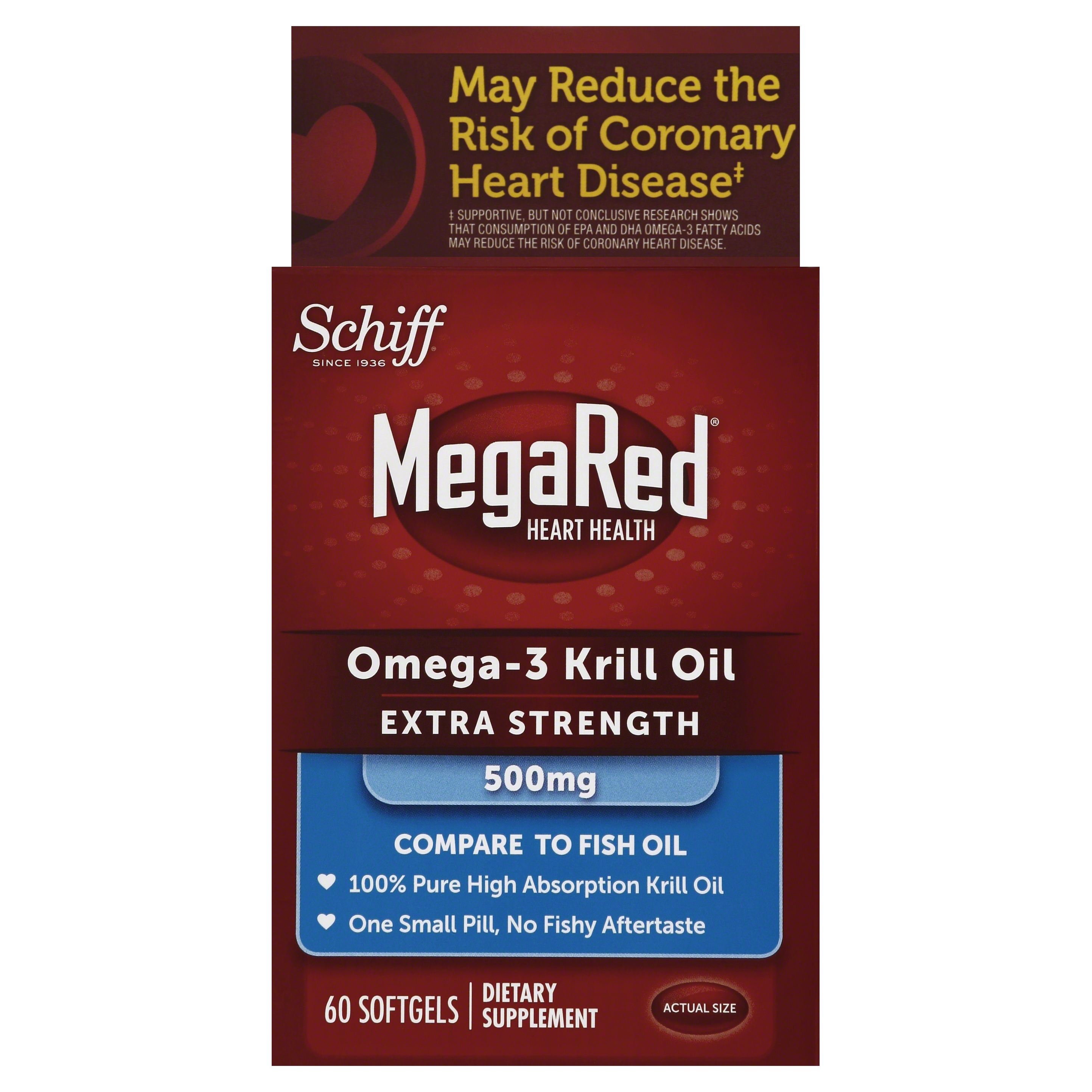 MegaRed Extra Strength Omega 3 Krill Oil 500mg Supplement, 60 Count
