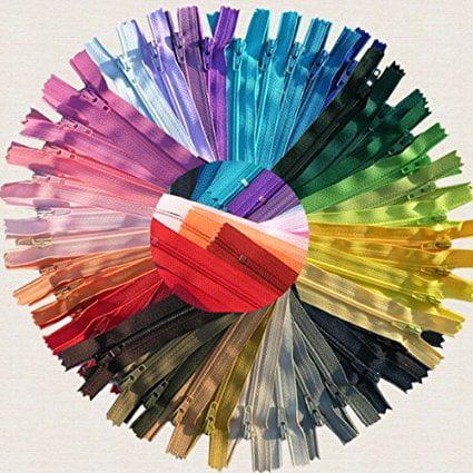 ZipperStop Wholesale Authorized Distributor YKK® #3 Skirt & Dress Zippers 8 Inch ~ Assortment of Colors (25 Zippers) + Custom Printed Ribbon