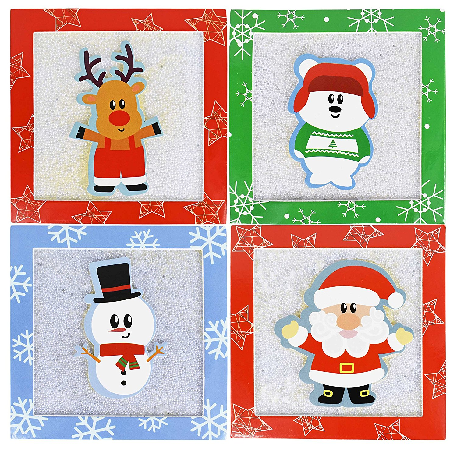 "Set of 4 Christmas/Holiday Money/Gift Card Holder Gift Boxes 4.5"" x 2.5"" With Pop-up Christmas Characters and Sugaring Texture!…"