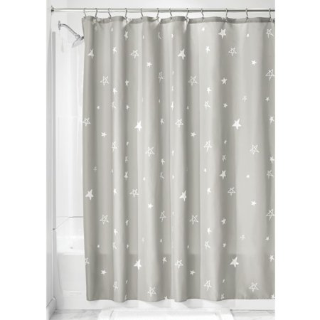 Idesign Star Fabric Shower Curtain Gray And White
