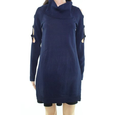 Cowl Grommet (INC NEW Blue Womens Size Small S Tunic Grommet Cutout Cowl Neck Sweater)