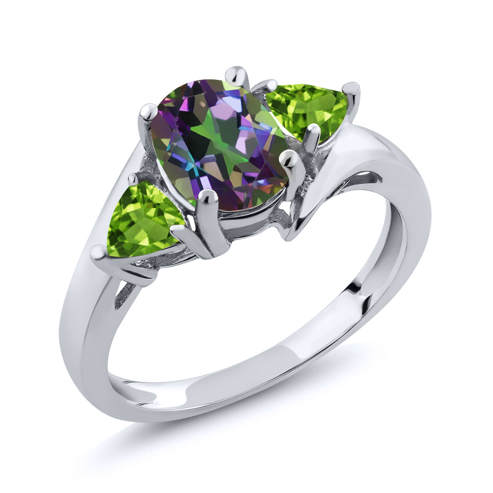 1.82 Ct Oval Green Mystic Topaz Green Peridot 14K White Gold Ring