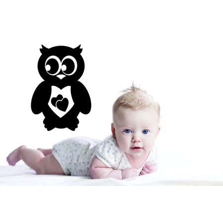 Custom Wall Decal : Owl Heart Design Boy Girl Bedroom Daycare Preschool 12x18