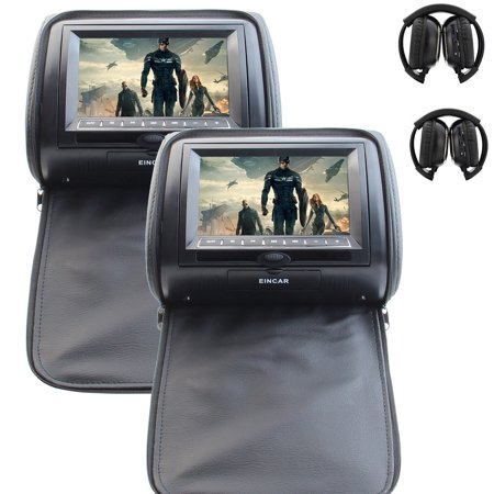 EinCar Headrest Pair with Built-in Black 7-inch TFT-LCD Monitors Dual Twin Region free Car Headrest DVD Video CD Audio Player Systems 32 Bit Games FM IR Transmitter for free Wireless IR Headphones Black 32 Cd / Dvd