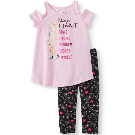 JoJo Cold Shoulder Tee and Capri Legging, 2-Piece Outfit Set (Little Girls & Big Girls) - Female Detective Outfit