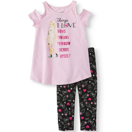 JoJo Cold Shoulder Tee and Capri Legging, 2-Piece Outfit Set (Little Girls & Big - Legging Outfits For Summer