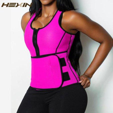 1b6f2bcc6f9 HIGHLIGHT USA LLC - HEXIN Neoprene Sauna Waist Trainer Vest Hot Shaper  Summer Workout Shaperwear Slimming Adjustable Sweat Belt Fajas Body Shaper  6X ...