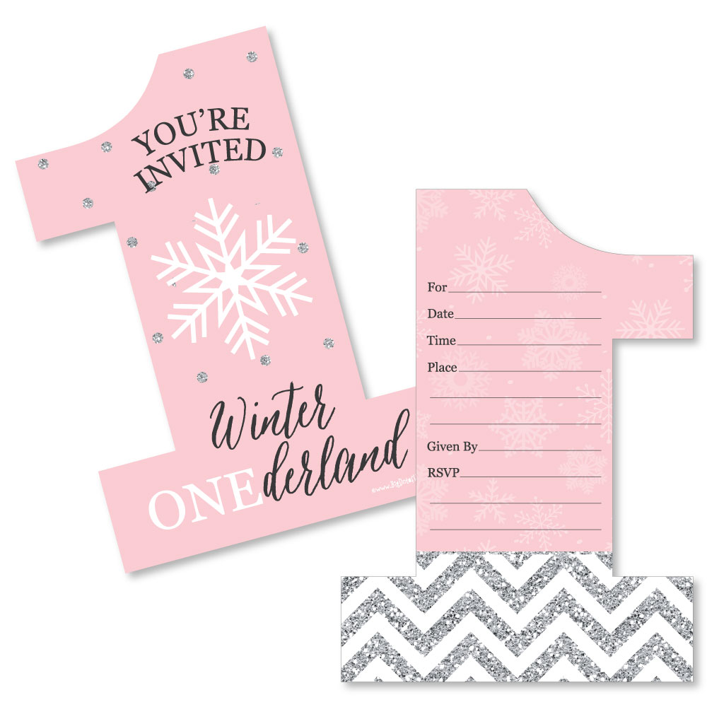Pink ONEderland - Shaped Fill-In Invitations - Holiday Snowflake Winter Wonderland Birthday Party Invitation - 12 Ct