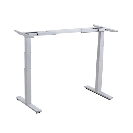 RISE UP Electric Adjustable Height Width Standing Desk Legs Frame Base. Ergonomic motorized sit to stand up home commercial office table. Dual 2 Motors. 4 Programmable Memory. White - image 1 de 5
