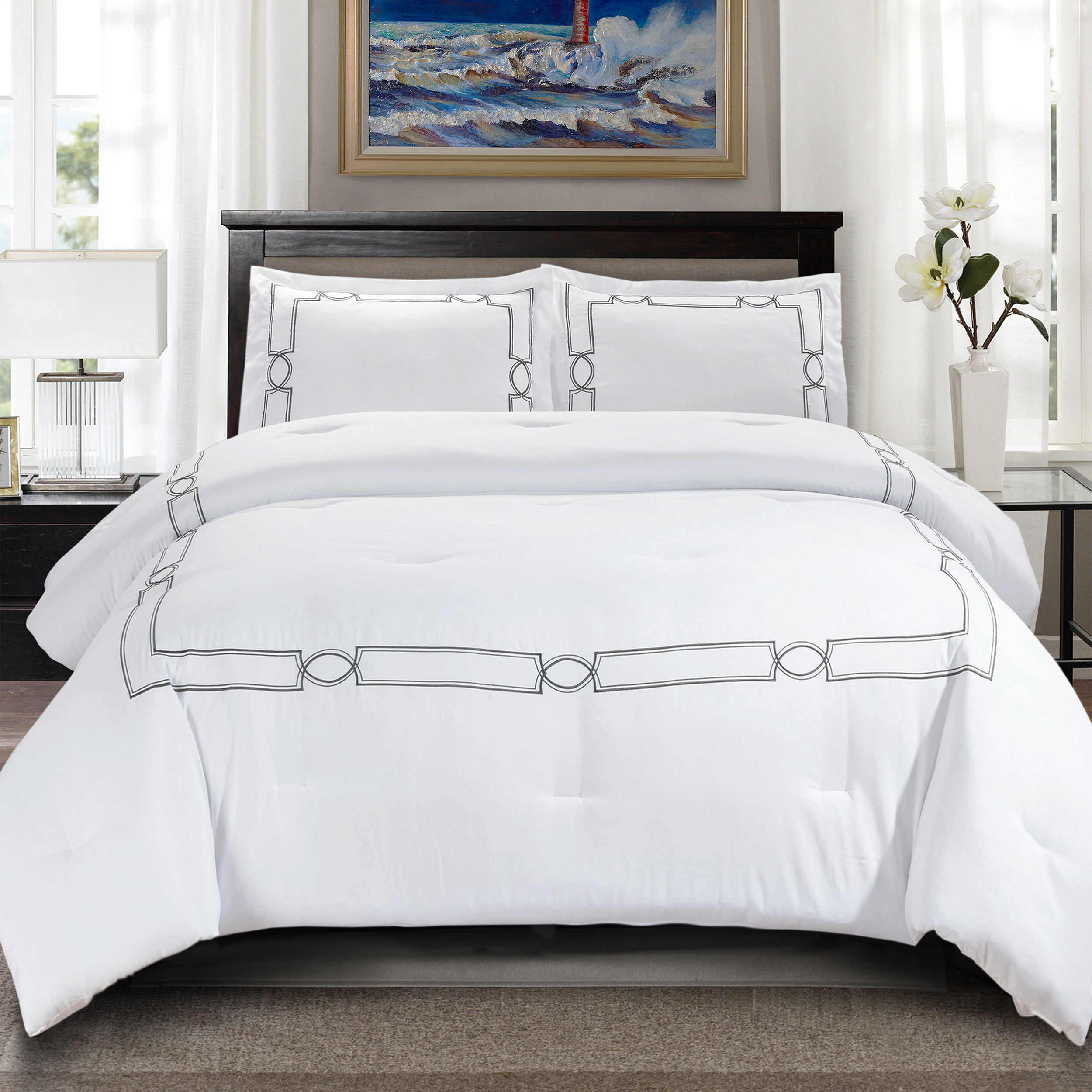 Superior Kensington Embroidered Hypoallergenic,Down Alternative Comforter Set