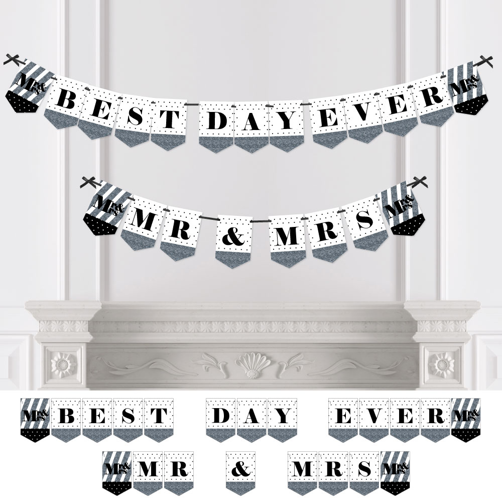 Mr. & Mrs. - Silver - Wedding & Bridal Shower Bunting Banner - Silver Party Decorations - Best Day Ever Mr & Mrs