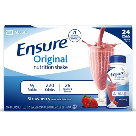 Ensure Original Nutrition Shake Strawberry Ready-to-Drink Meal Replacement Shakes, 8 fl oz Bottles, 24 Count