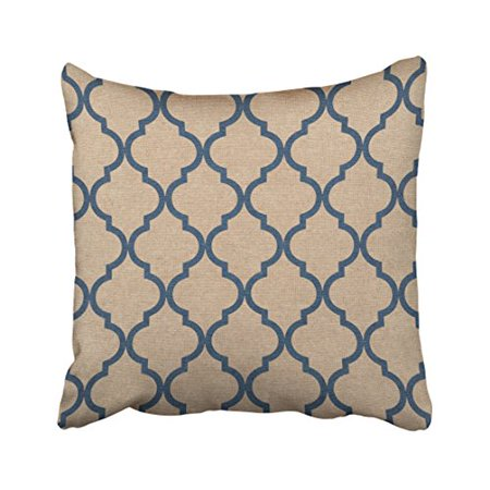 WinHome Decorative Christmas present Quatrefoil Pattern Denim Blue and Tan pillow cover case Size 18x18 inches Two Side