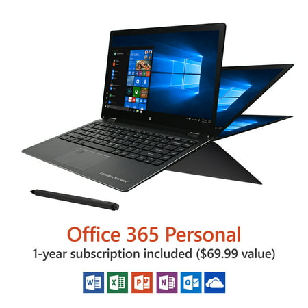 "Direkt-Tek 13.3"" Convertible Touchscreen Laptop, Windows 10 Home, Office 365 Personal 1-Year Subscription Included ($69.99 Value), Intel Processor, 32 GB storage, Front camera with 8 hour battery"