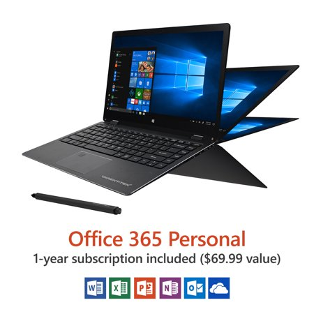 Direkt-Tek 13.3u0022 Convertible Touchscreen Laptop, Windows 10 Home, Office 365 Personal 1-Year Subscription Included ($69.99 Value), Intel Processor, 32 GB storage, Front camera with 8 hour battery