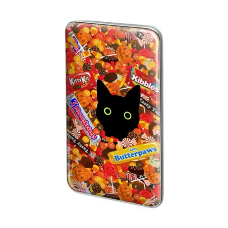 Halloween Black Cat Hiding in Candy  Metal Rectangle Lapel Hat Pin Tie Tack Pinback