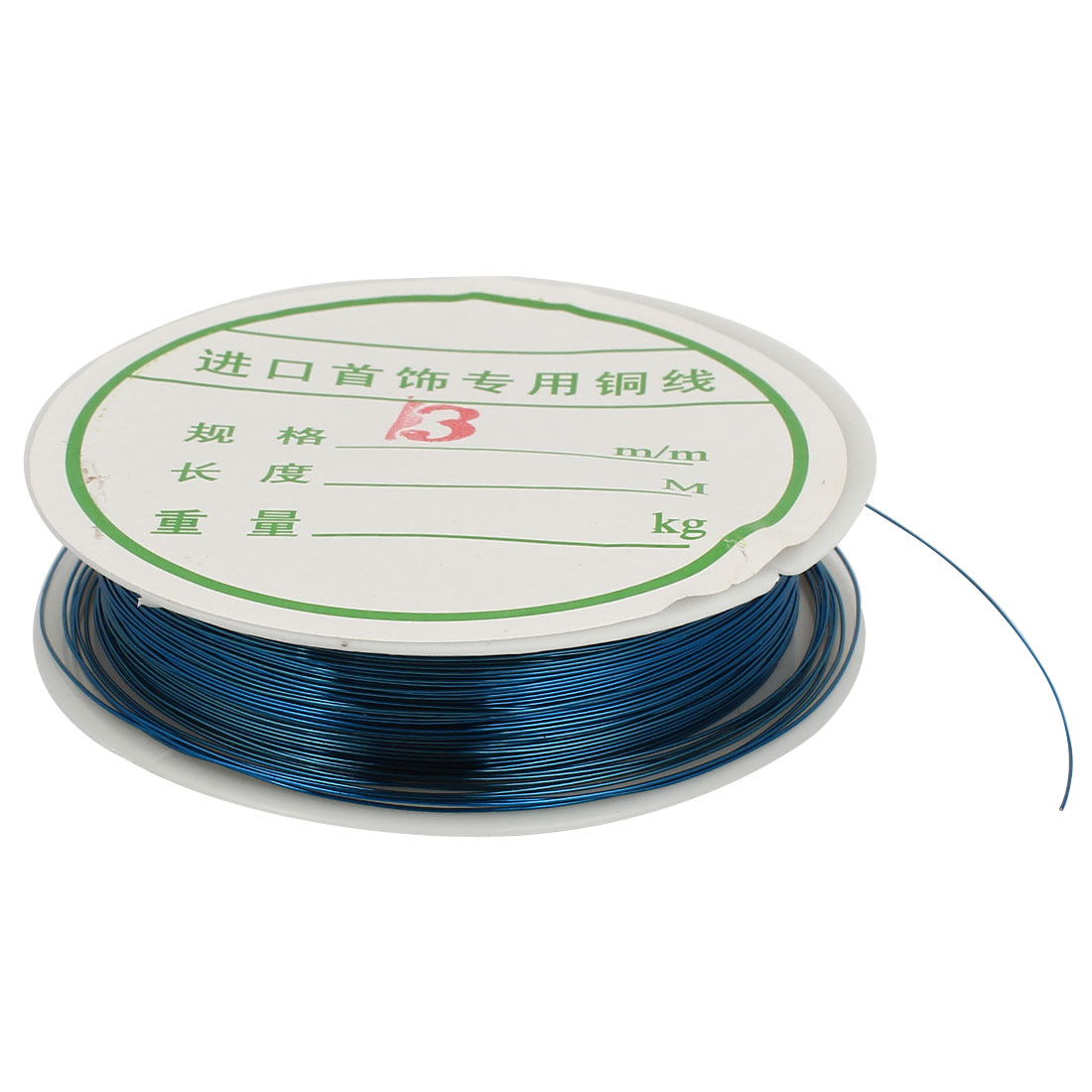 Unique Bargains Copper Tiger Tail Strand Beading Wire Bead Wrapping 0.4mm 26 Ga Teal Blue
