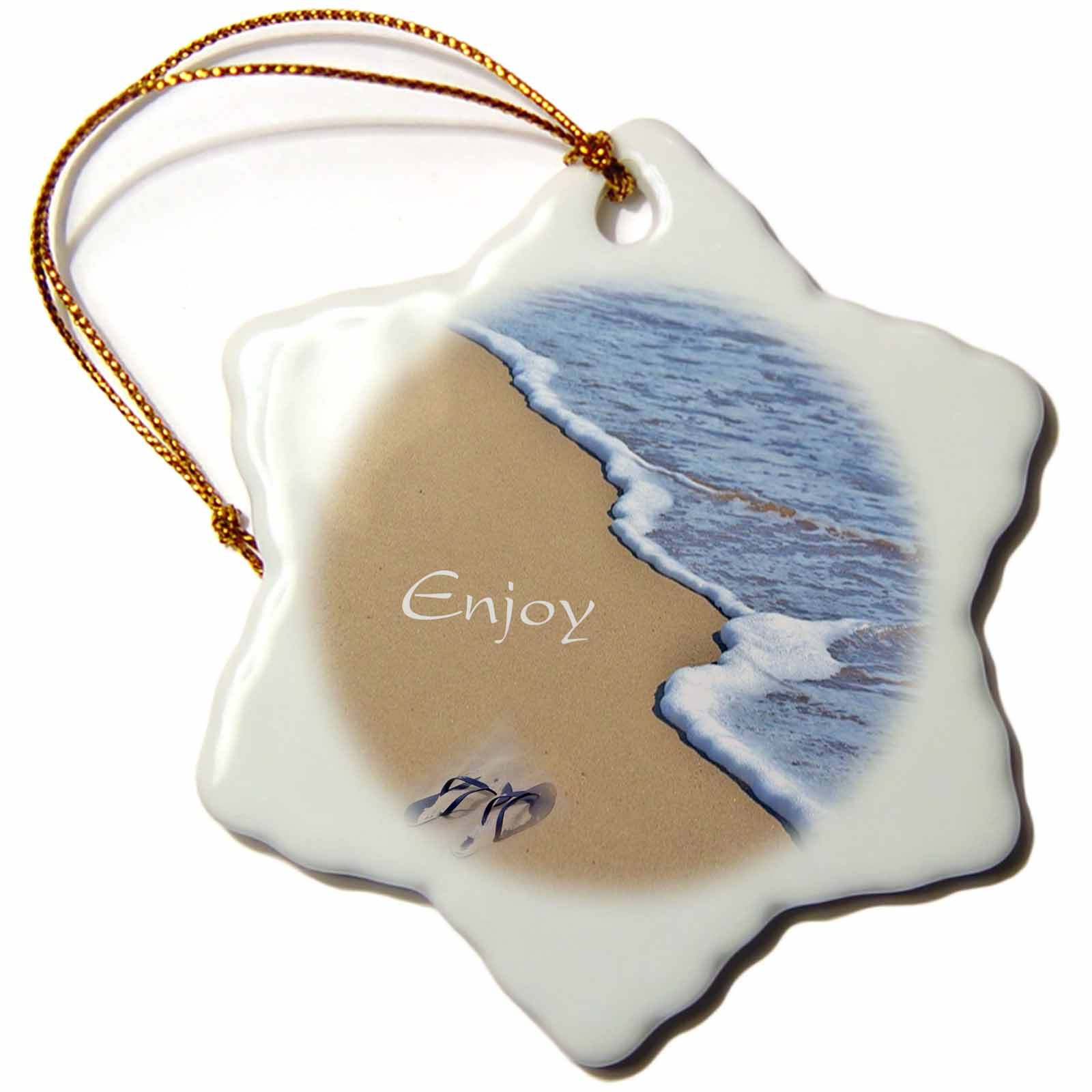 3dRose Print of Beach Shore with Enjoy And Flip Flops, Snowflake Ornament, Porcelain, 3-inch