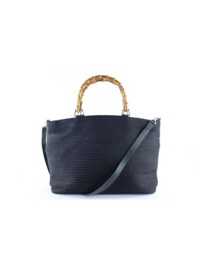 6f9355ae Product Image 2way 223853 Black Quilted Canvas X Bamboo Tote