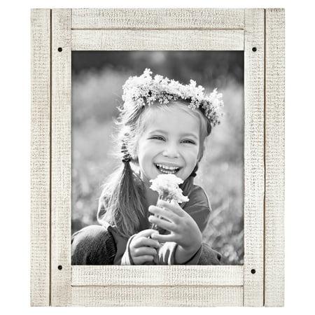 8x10 Aspen White Distressed Wood Frame - Display 8x10 Photos ()