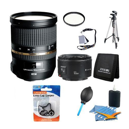 Tamron SP 24-70mm Di VC USD Lens w/ 16 GB SDHC Card, 82mm UV HMC Filter, Photo/Video Tripod, Lens Cleaning Kit, Digital Grey Card Set, Professional Blower - Dust Removal System, Tri-fold Memory Card