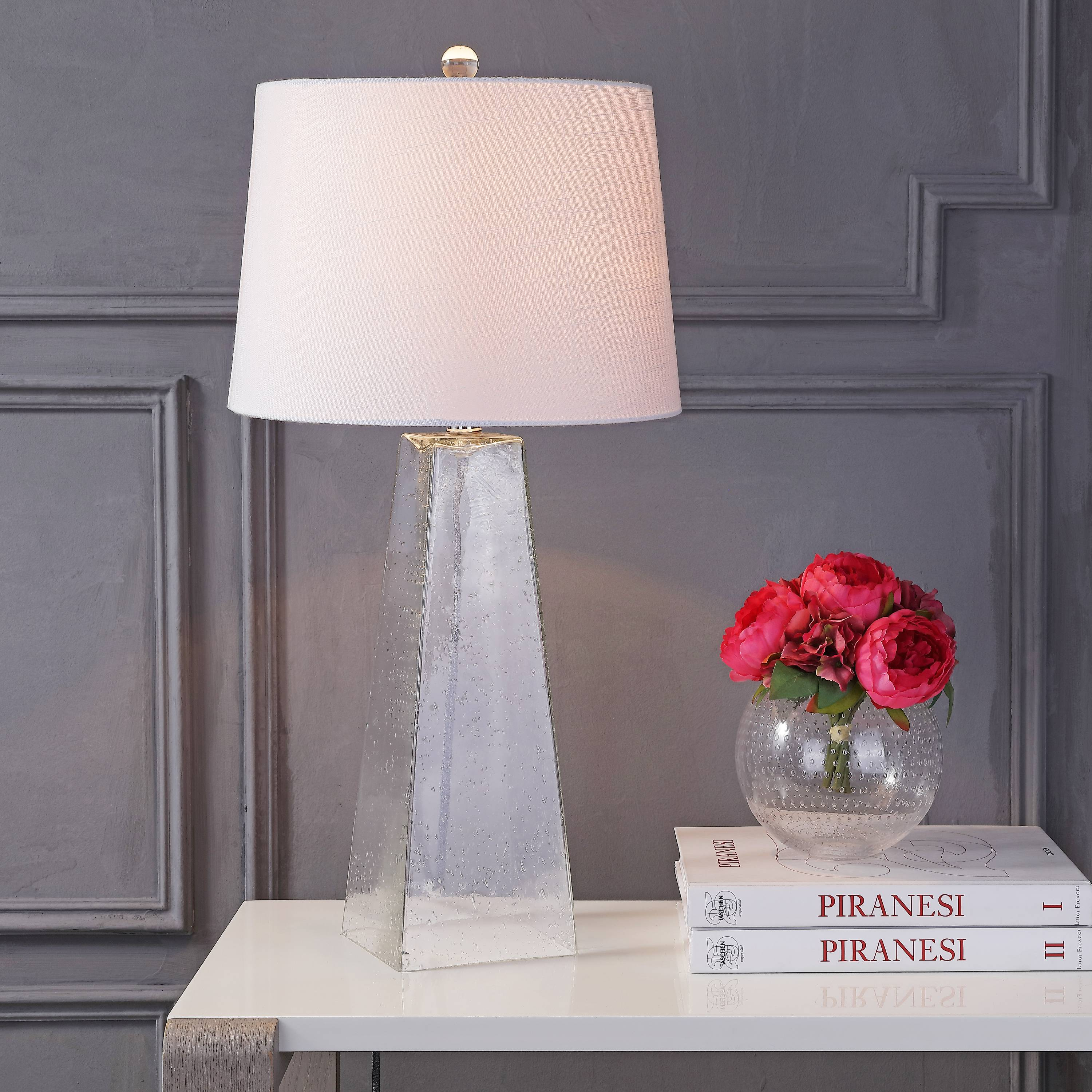 "Dylan 28.5"" Glass LED Table Lamp, Clear"