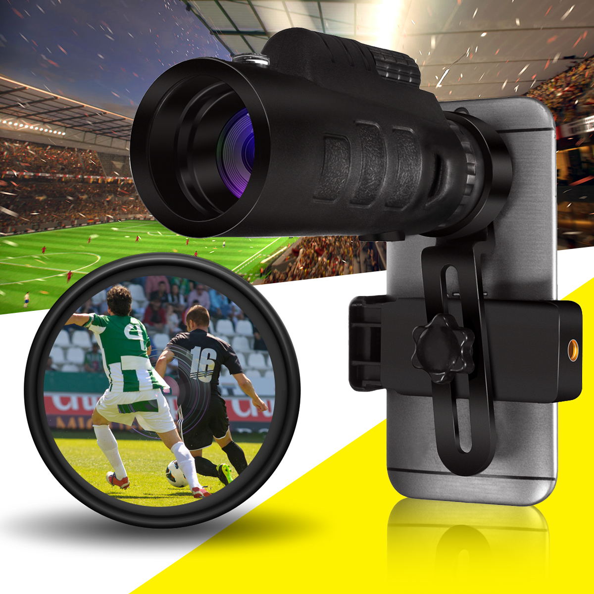 Universal 35x50 Zoom HD Optical Monocular Telescope Phone Lens Camping Telescope With Clip For Smartphones