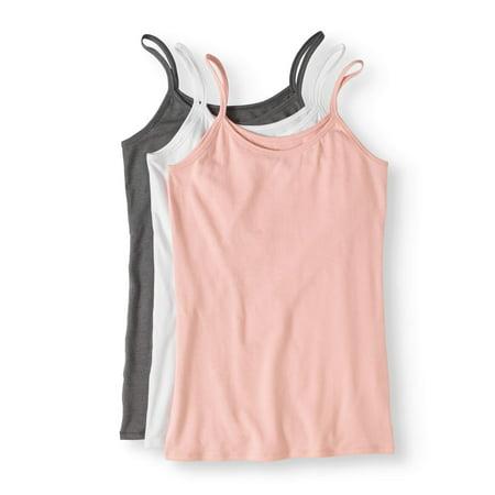 Ladies Cotton Stretch Camis, 3-Pack
