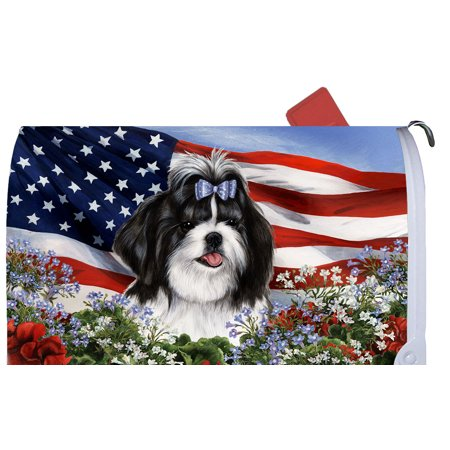 Shih Tzu Black/White - Best of Breed Patriotic I Dog Breed Mail Box
