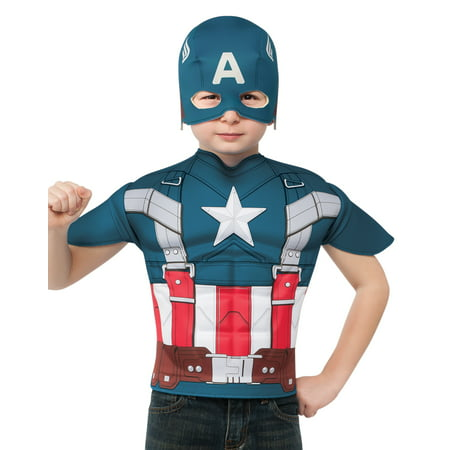 Captain America Top and Mask Child Halloween Costume, One Size, 4-6 (Captain America Girl Mask)