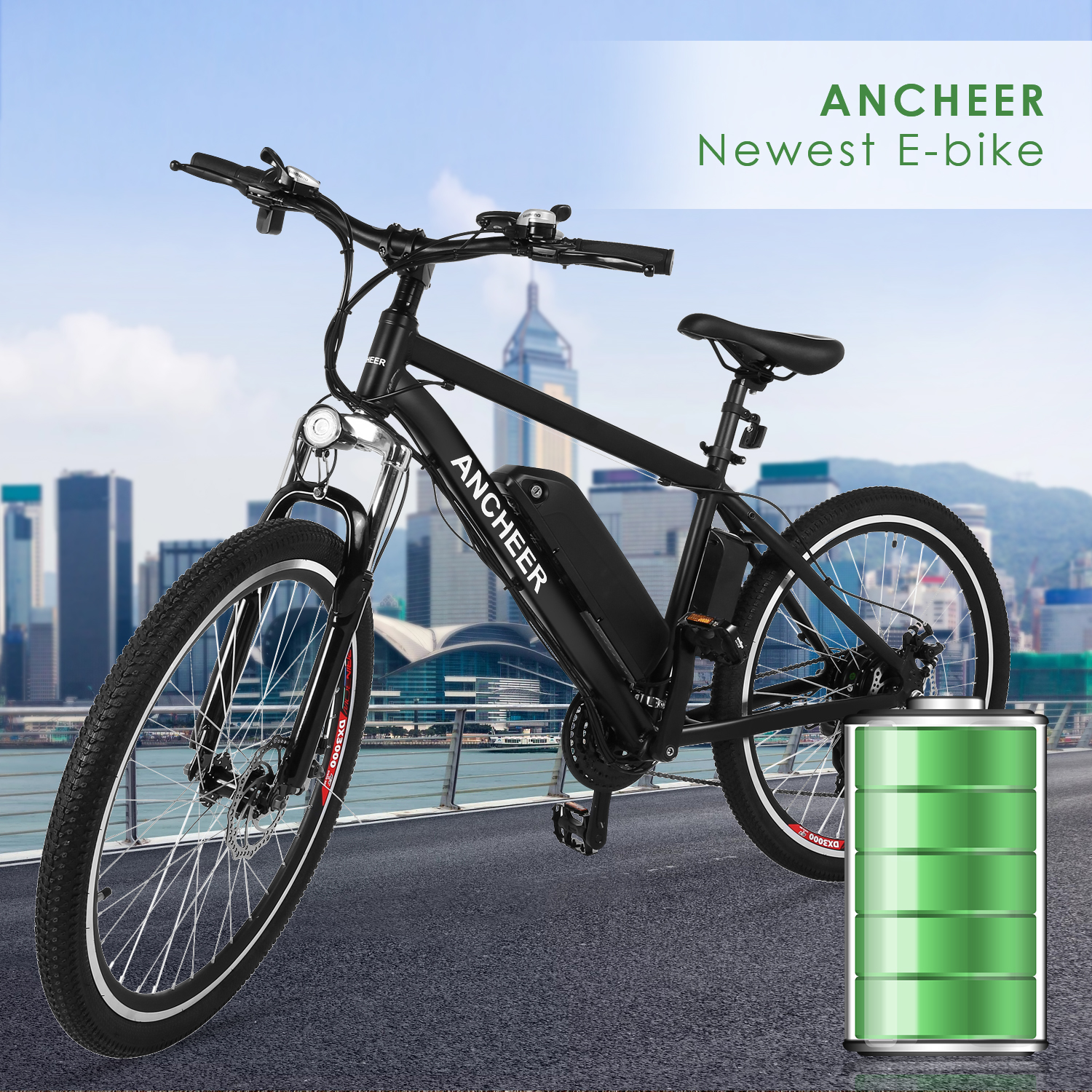 "ANCHEER Outdoor 21 Speed 36V 26""Power Plus Electric Bike,Outdoor Mountain Bike, E-Bike With LED Handlebar Display,Removable Lithium-ion Battery(US STOCK)"