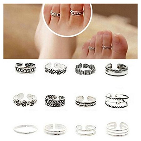 - 12pcs Fashion Simple Sliver Carved Flower Toe Ring Open Rings Set Ladies Jewelry