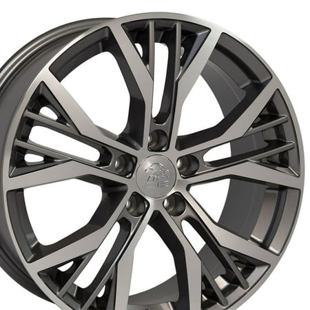 OE Wheels 18 Inch GTI Style | Fits Volkswagen GTI Jetta EOS CC Tiguan Rabbit Passat Golf Beetle | Offset 45mm VW28 Gunmetal Machined 18x8 (2015 Volkswagen Golf Gti Autobahn W Performance Pkg)