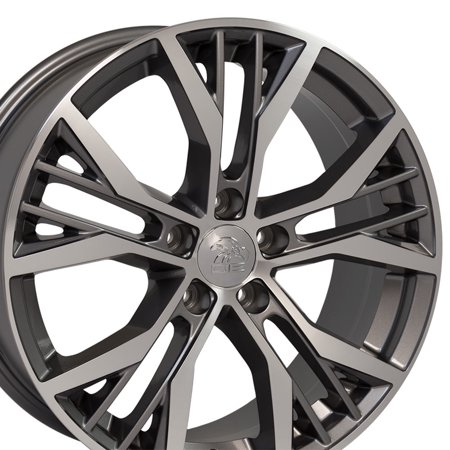 OE Wheels 18 Inch GTI Style | Fits Volkswagen GTI Jetta EOS CC Tiguan Rabbit Passat Golf Beetle | Offset 45mm VW28 Gunmetal Machined 18x8 Rim